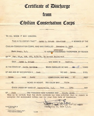 CCC Discharge Papers for Lester Howard