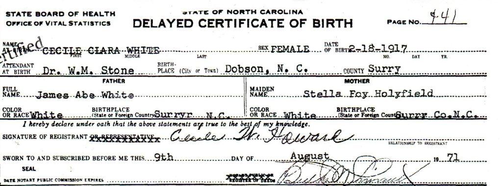 Cecile White Birth Cert part 1