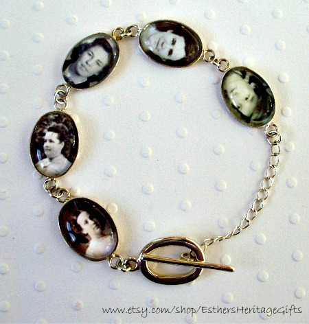 Personalized Photo Charm Bracelet ~ http://www.etsy.com/EsthersHeritageGifts