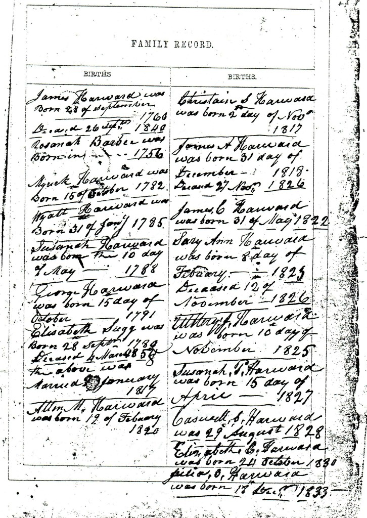Harward Family Bible Births ~LisaLisson.com