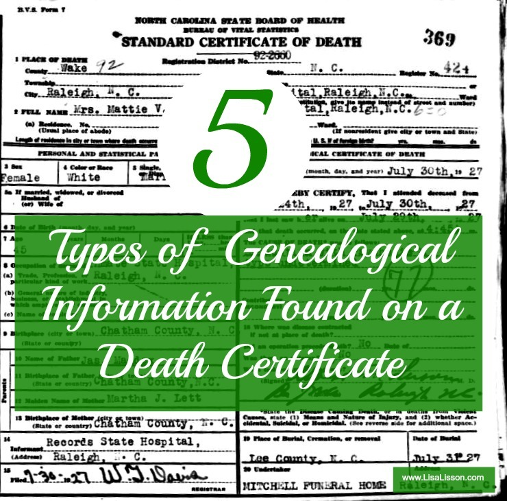 5 Types of Genealogical Info Found on a Death Certificate