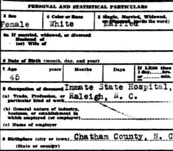 Mattie Howard's Death Cert Birth Occ