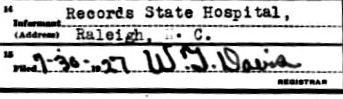 Genealogy death certificate Mattie Maddox - informant
