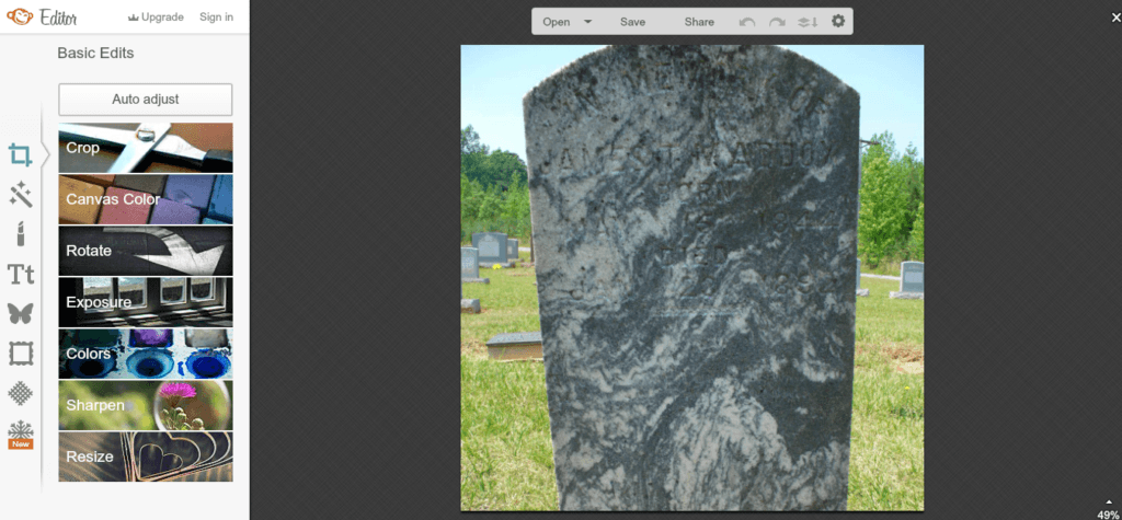 Editing a gravestone Photo in Picmonkey