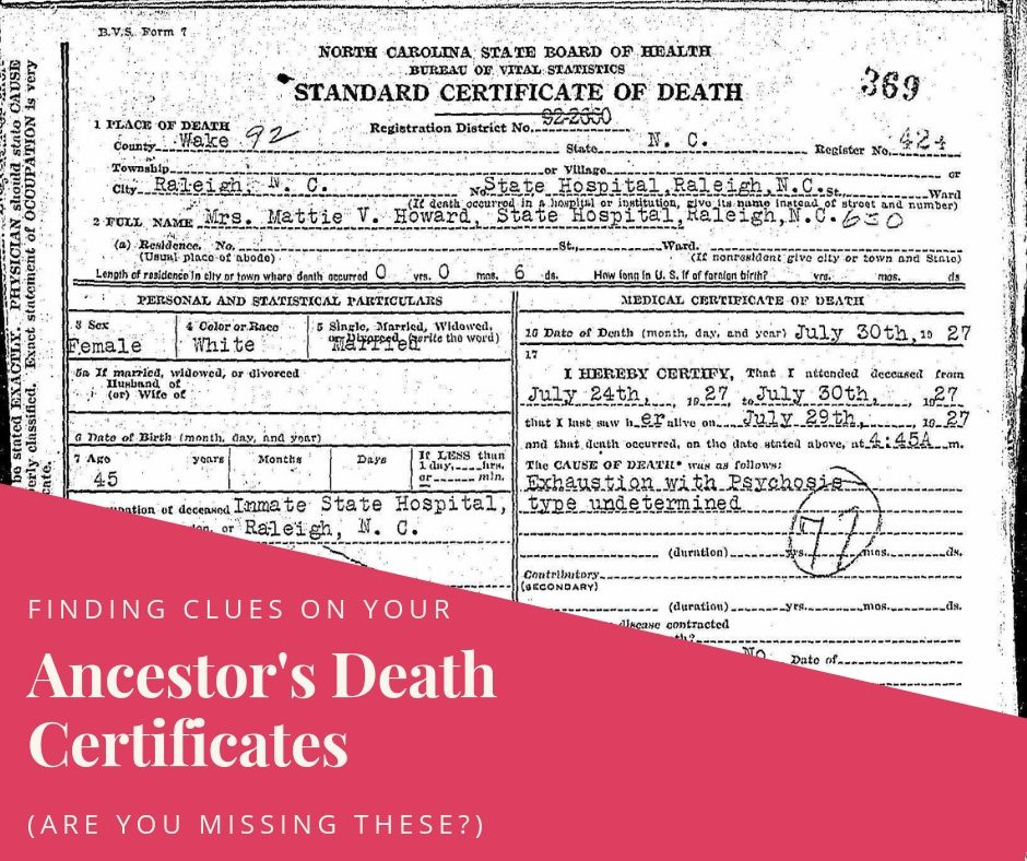 Clues on Your Ancestor's Death Certificate | Are You My Cousin?