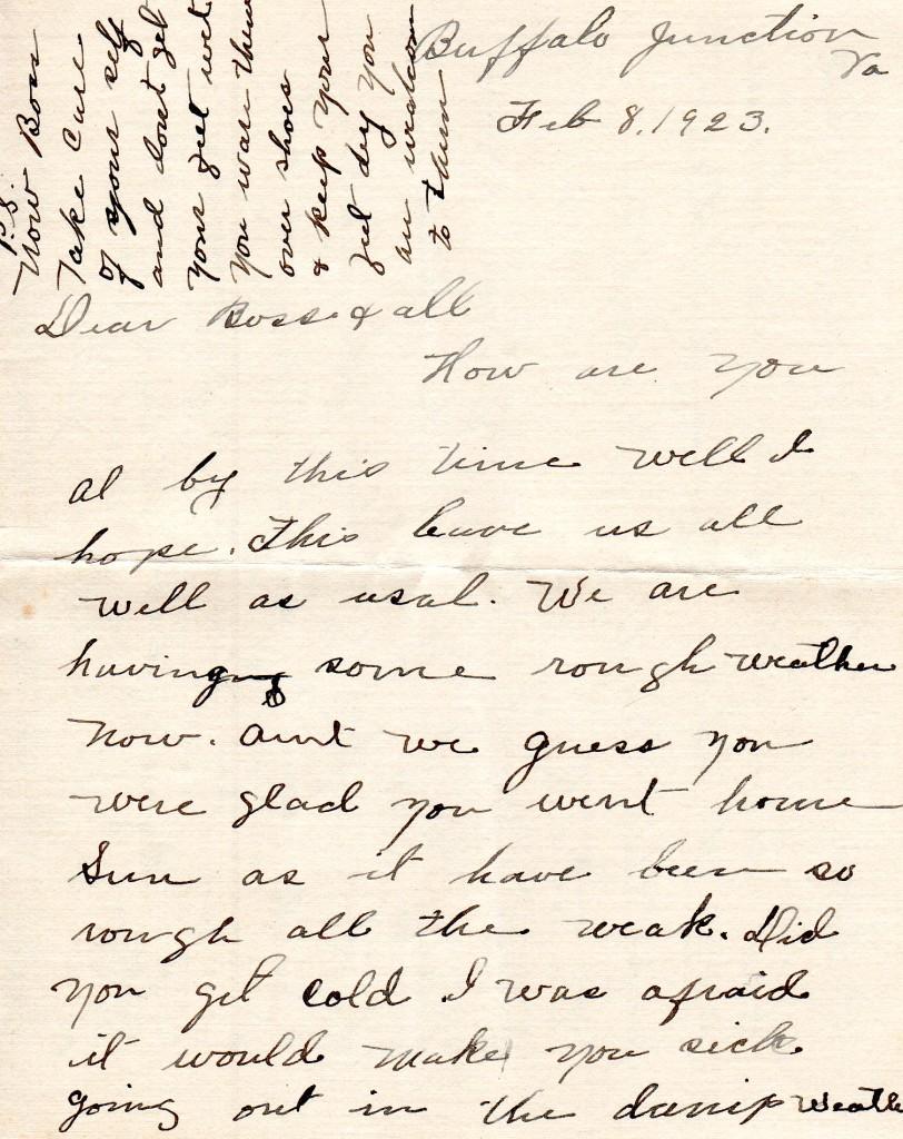 1923 Letter of Hattie Richardson to Boss Talbott of Halifax County, VA