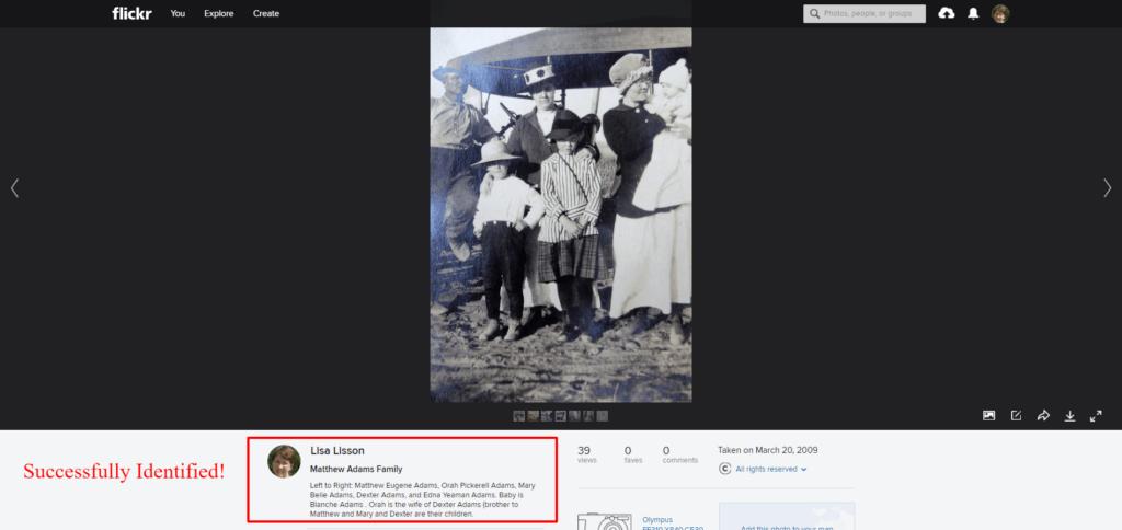 Flickr ancestor photo identified