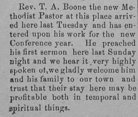 The Elkin Times 1902 - Rev T A Boone