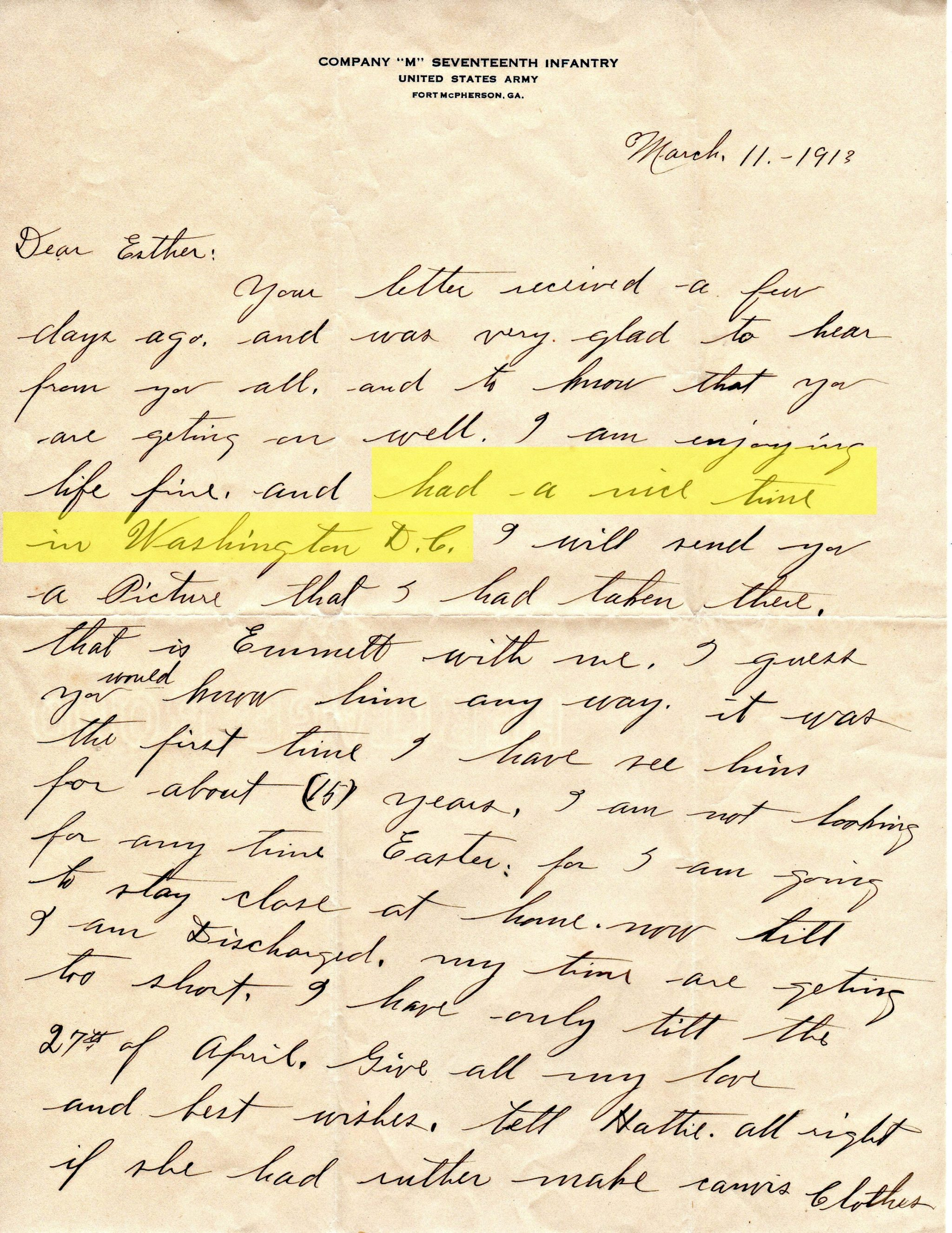 William F Elliott Letter - Washington DC