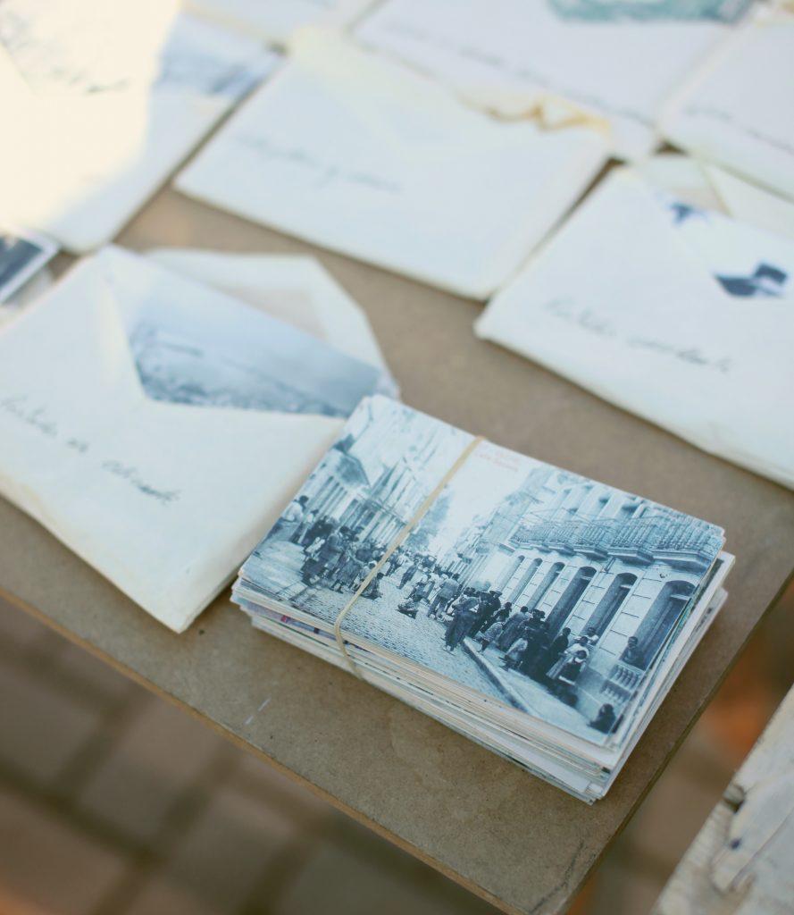 olda family photographs in envelope