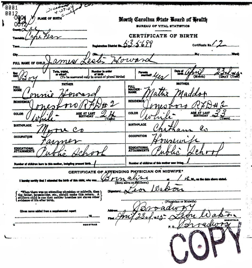Lester Howard of North Carolina Birth Certificate