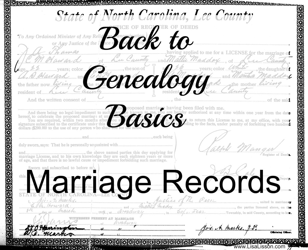 Marriage records, like birth certificates, provide valuable information to the genealogy researcher. Beyond the date and the names of the bride and groom, more information can be gleaned from the record.