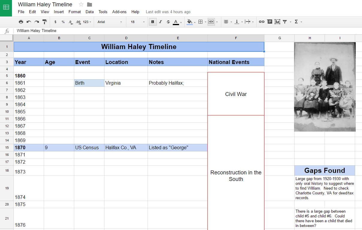 Organize Your Genealogy Using a Timeline