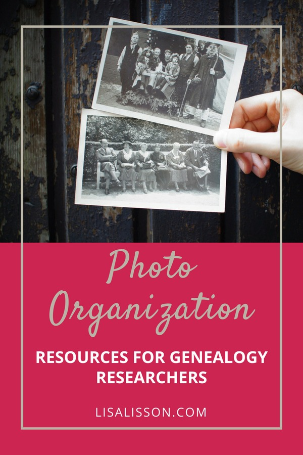 Photo organization resources for tips and strategies to help the genealogist and family historian finally get those photos organized. #areyoumycousin #photoorganization #genealogy #organization #ancestors