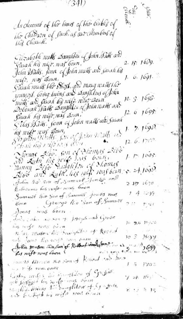 Church Birth Record Example