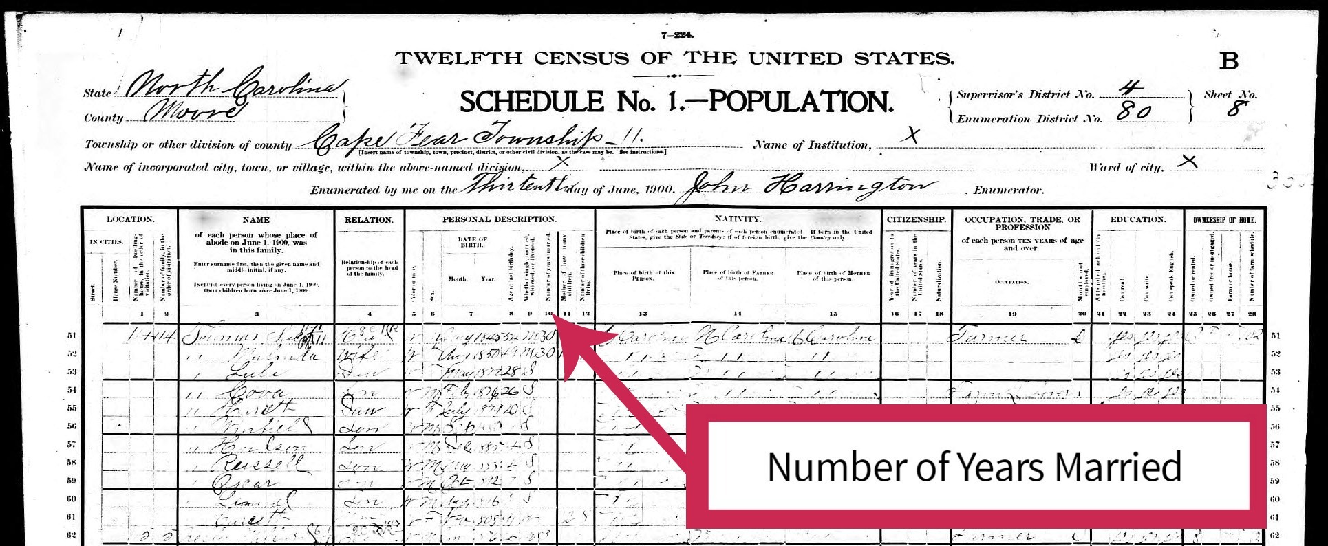 1900 Census Example of Number of Years Married - Column 10