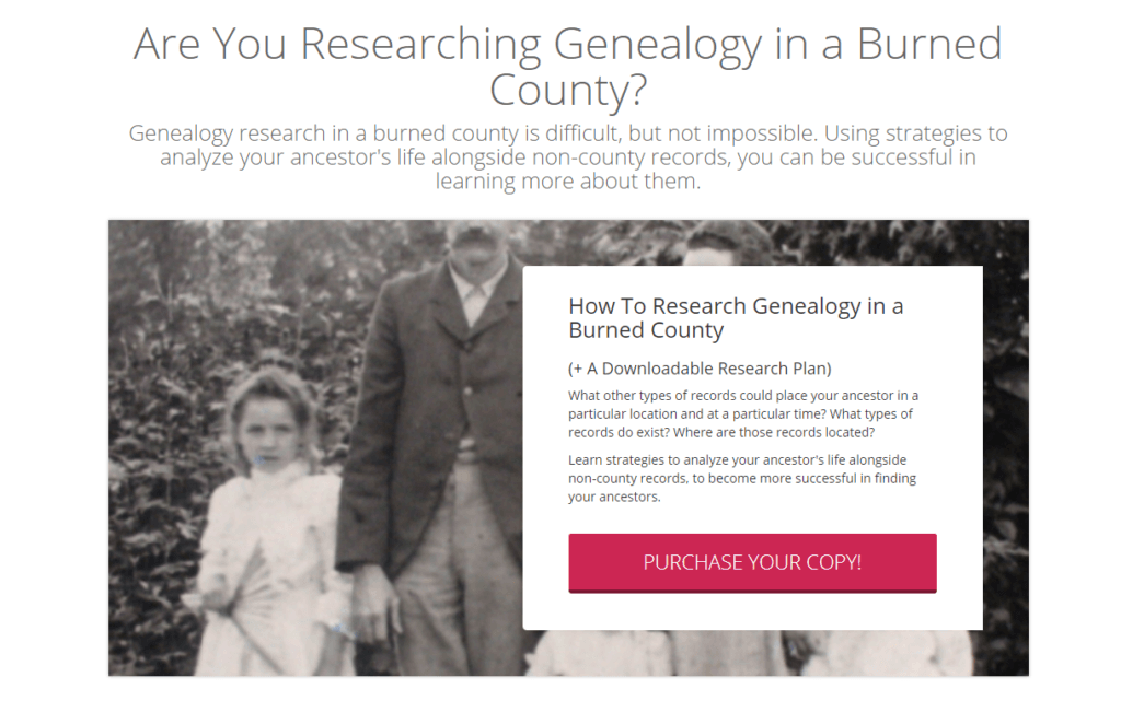 Genealogy research in a burned county is difficult, but not impossible. Tips to find your ancestors when many records have been lost.