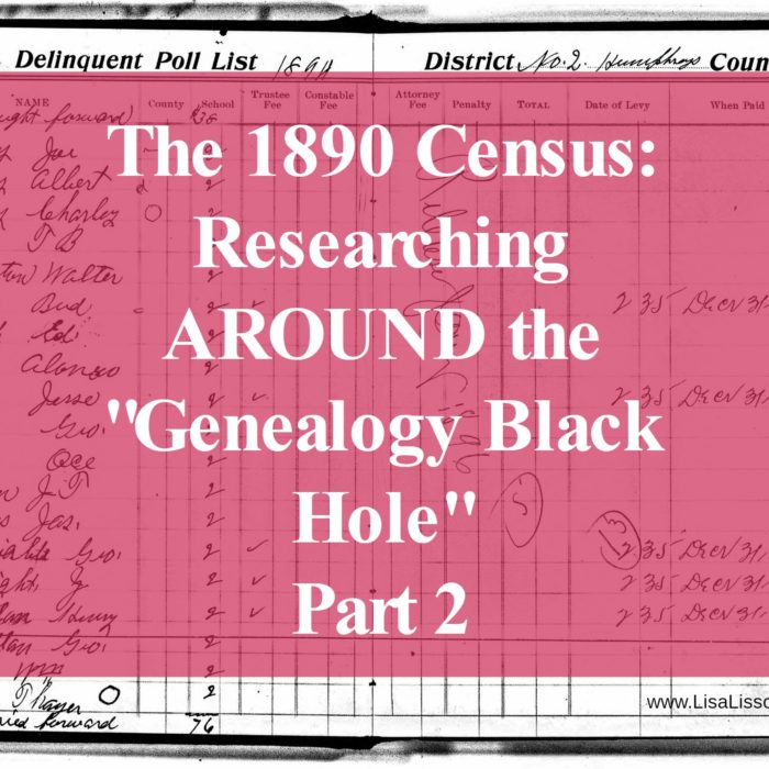 """The 1890 Census – Researching AROUND the """"Genealogy Black Hole"""" – Part 2"""