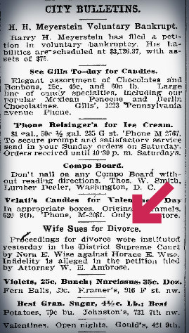 Washington Post (1906) Divorce Announcement