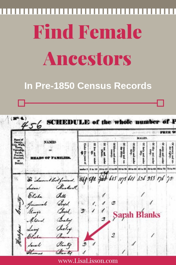Trouble tracing your female ancestors? Do not overlook them in those early pre-1850 census records. #genealogy #ancestors #census
