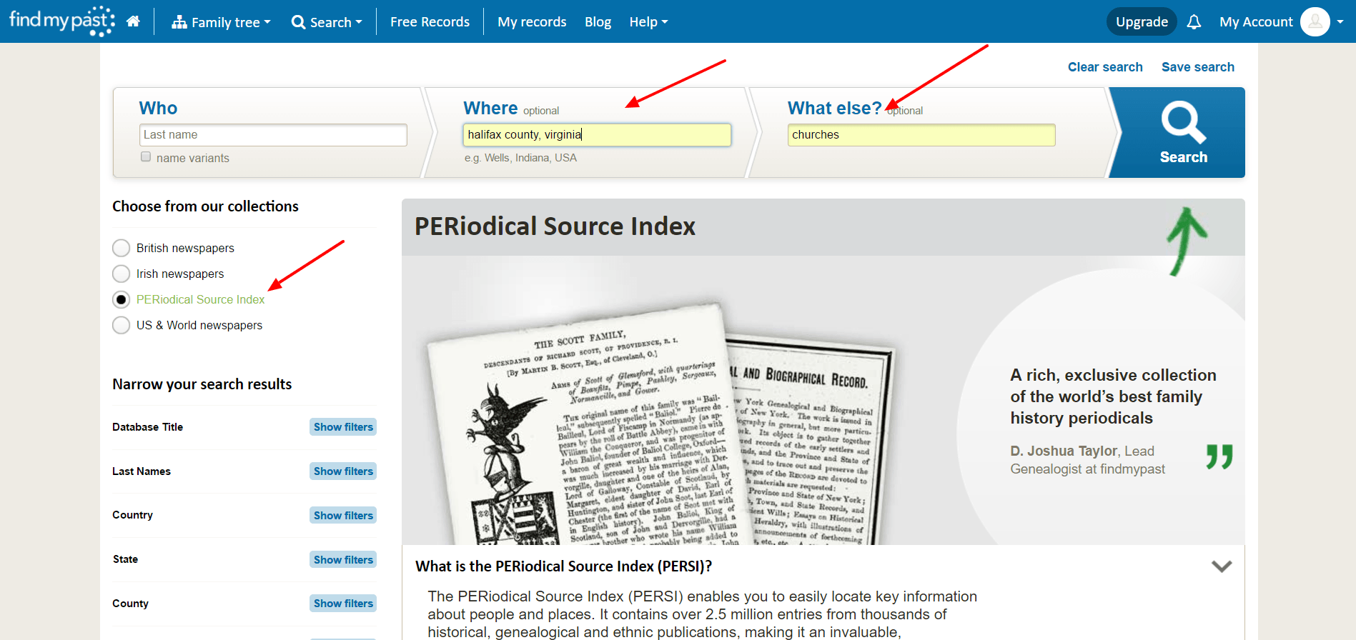 Finding genealogy articles using PERSI