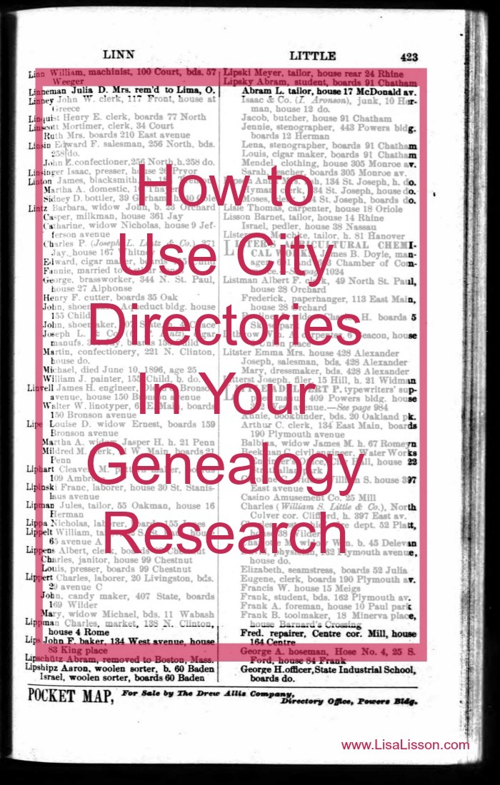 City directories are great genealogy resources. Created yearly, directories allow the genealogy researcher to track an ancestor year by year as opposed to the census records tracking individuals decade by decade.  Tracking an ancestor year by year can help you determine when he/she migrated out of an area or if their economic situation improved based on a change of neighborhoods.