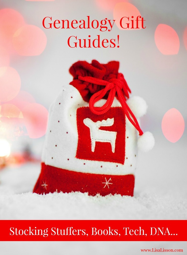 Genealogy gift guides to make your holiday shopping easier! A variety of genealogy themed guides including books, DNA, stocking stuffers.......