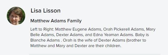 Matthew Adams family Flickr description