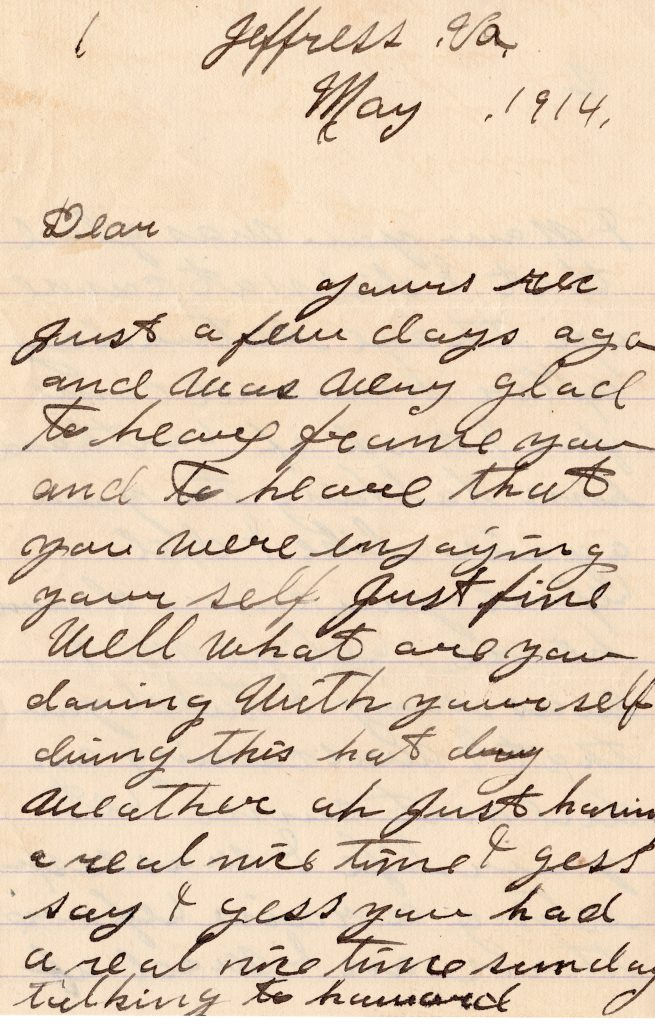 1914 Letter from Boss Henry Talbot  in private collection