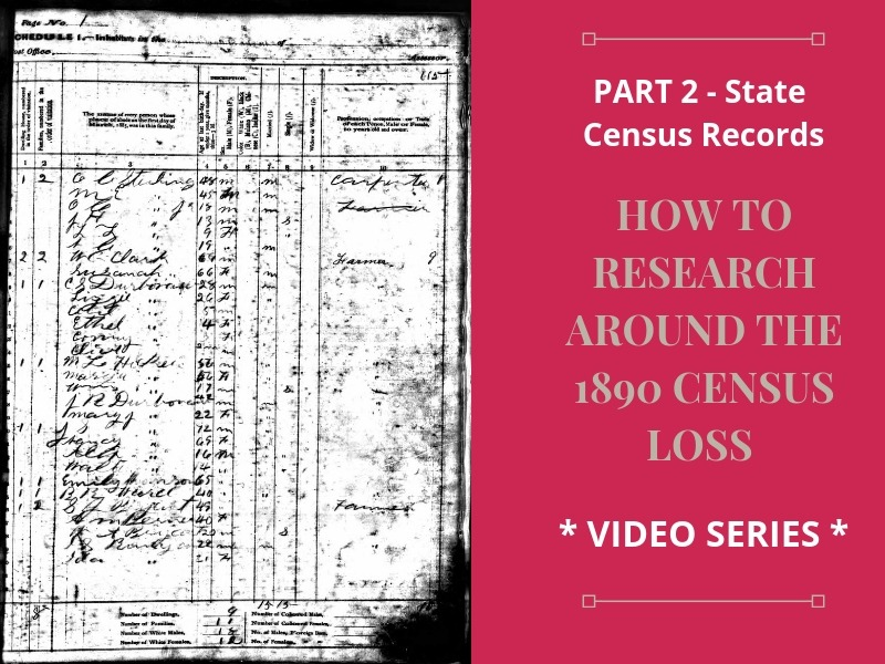 Researching state census records can be helpful in finding your ancestors in the absence of the 1890 U.S. census and in between years.