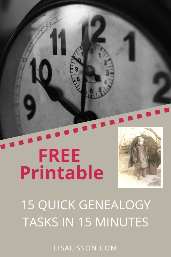Free Printable - 15 Quick Genealogy Tasks To Do in 15 Minutes. Fun and quick genealogy tasks checklist when you are short on time. #free #genealogy #checklist