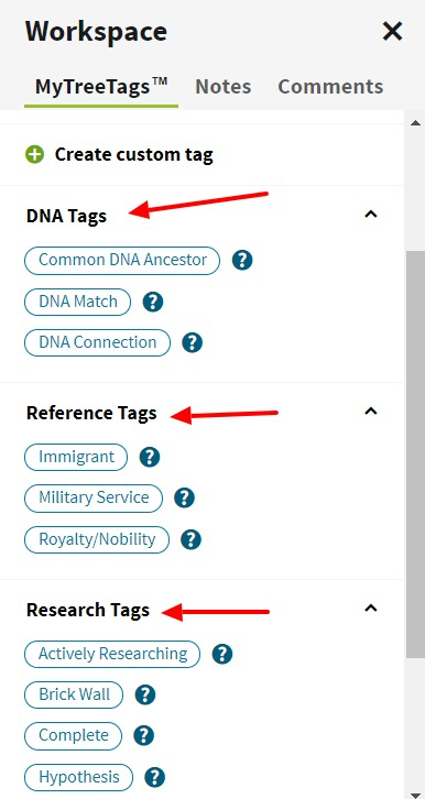 Try Ancestry.com's NEW MyTree Tags tool. Use tags (or labels) to improve your family tree organization and manage your genealogy research projects easier. #ancestors #genealogy #familyhistory