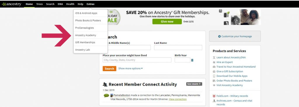 Access to Ancestry.com's Academy