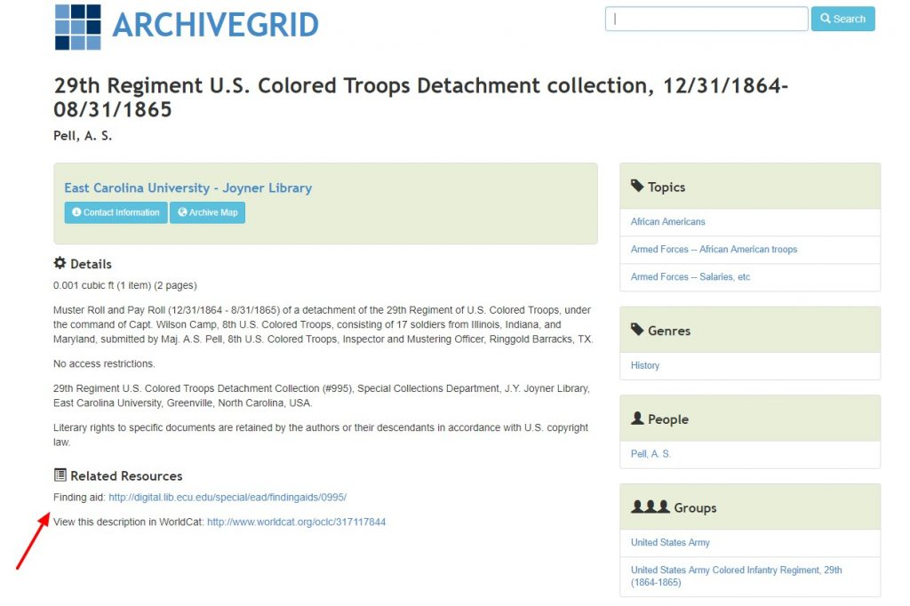 Wondering if you have searched everywhere for your ancestor's records? Explore the free finding aid ArchiveGrid to find where your ancestor's records might be .