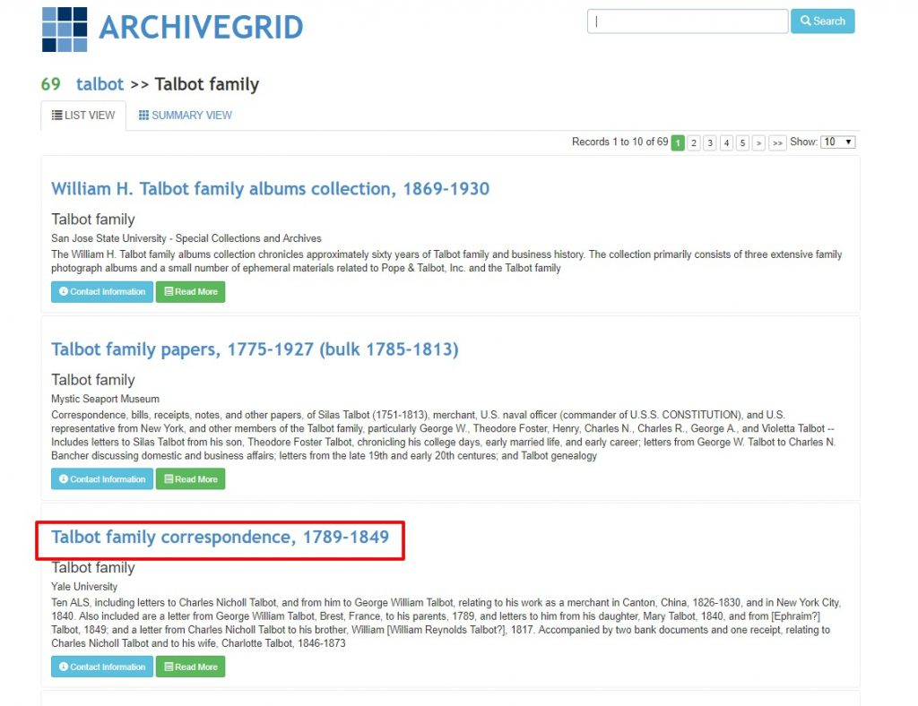 ArchiveGrid Genealogy Surname Search
