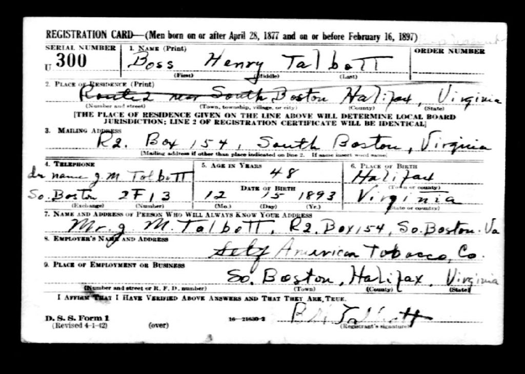 WWII Draft Card