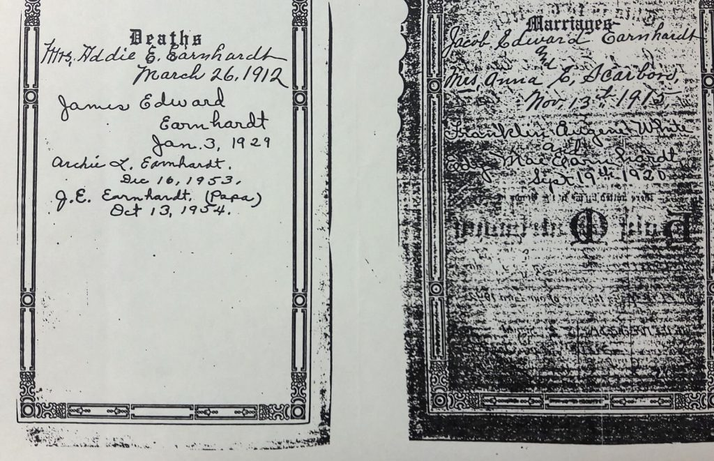 Copy of Family Bible from Earnhardt Family Vertical File