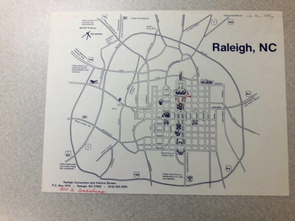 Old map of Raleigh from a vertical file