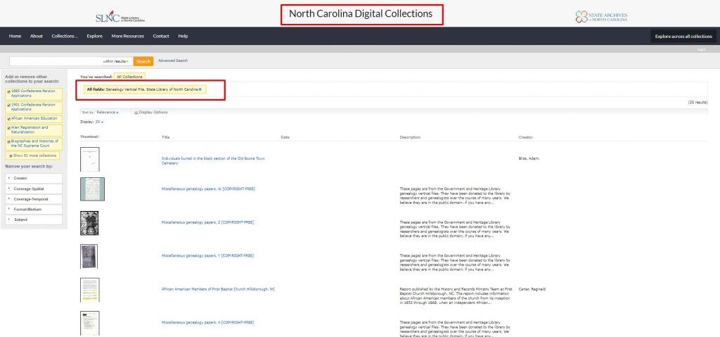 State Archives of NC Vertical Files Collection
